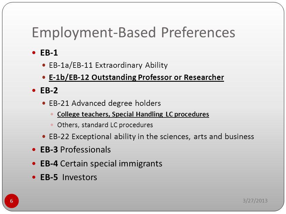 Employment-Based Preferences 3/27/2013 6 EB-1 EB-1a/EB-11 Extraordinary Ability E-1b/EB-12 Outstanding Professor or Researcher EB-2 EB-21 Advanced deg