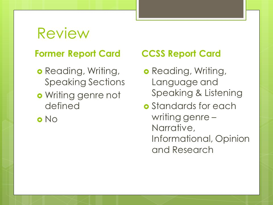 Review Former Report Card Reading, Writing, Speaking Sections Writing genre not defined No CCSS Report Card Reading, Writing, Language and Speaking & Listening Standards for each writing genre – Narrative, Informational, Opinion and Research