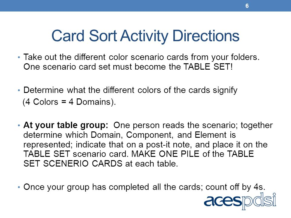 Card Sort Activity Directions Take out the different color scenario cards from your folders. One scenario card set must become the TABLE SET! Determin