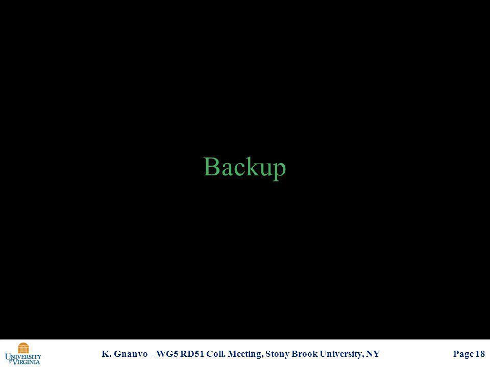 Backup K. Gnanvo - WG5 RD51 Coll. Meeting, Stony Brook University, NY Page 18
