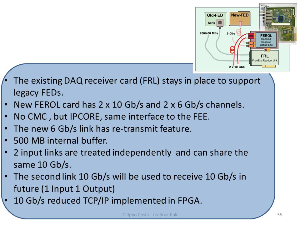 35 The existing DAQ receiver card (FRL) stays in place to support legacy FEDs.