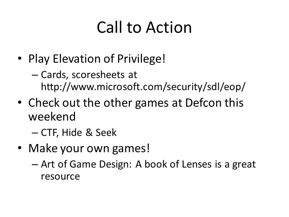 Call to Action Play Elevation of Privilege.