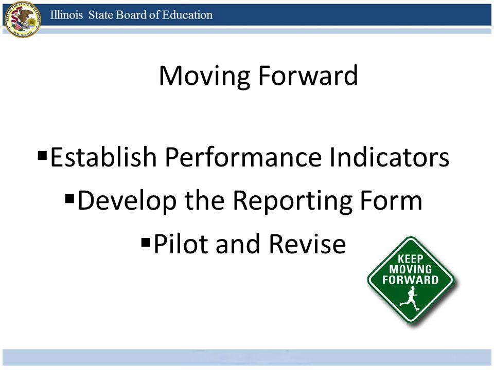 Establish Performance Indicators Develop the Reporting Form Pilot and Revise Moving Forward