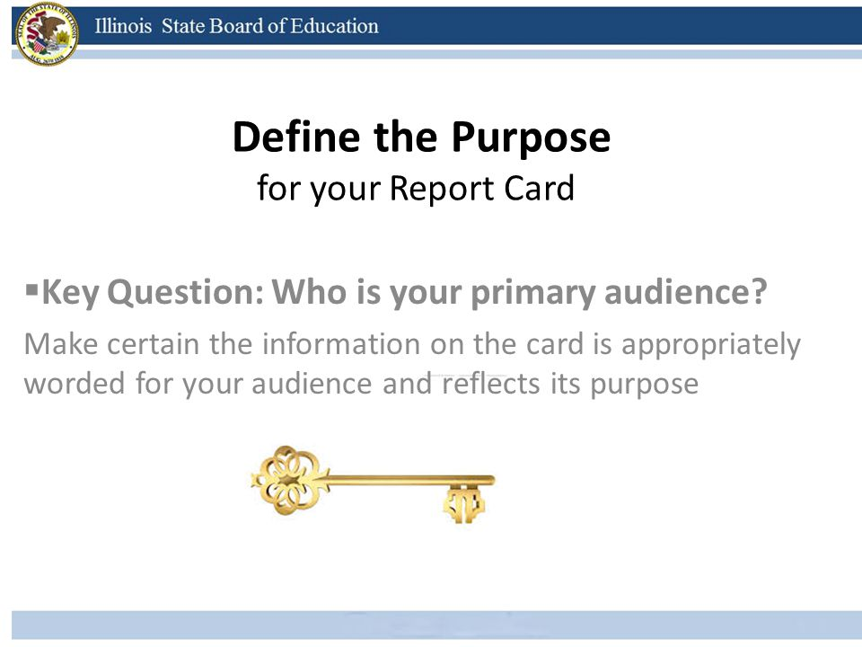 Develop the Reporting Standards Consider separating the 3 Types of Learning Goals: 1.