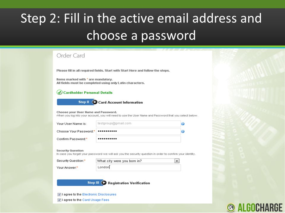 Step 2: Fill in the active email address and choose a password