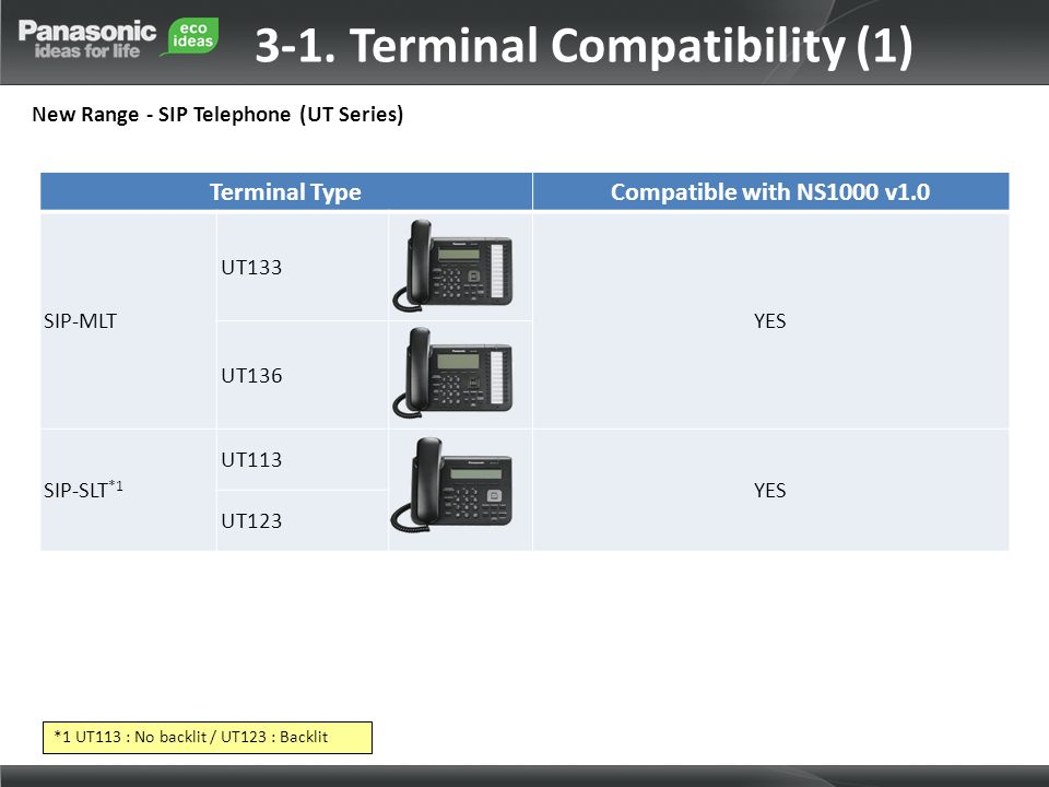 Terminal TypeCompatible with NS1000 v1.0 SIP-MLT UT133 YES UT136 SIP-SLT *1 UT113 YES UT123 3-1. Terminal Compatibility (1) New Range - SIP Telephone