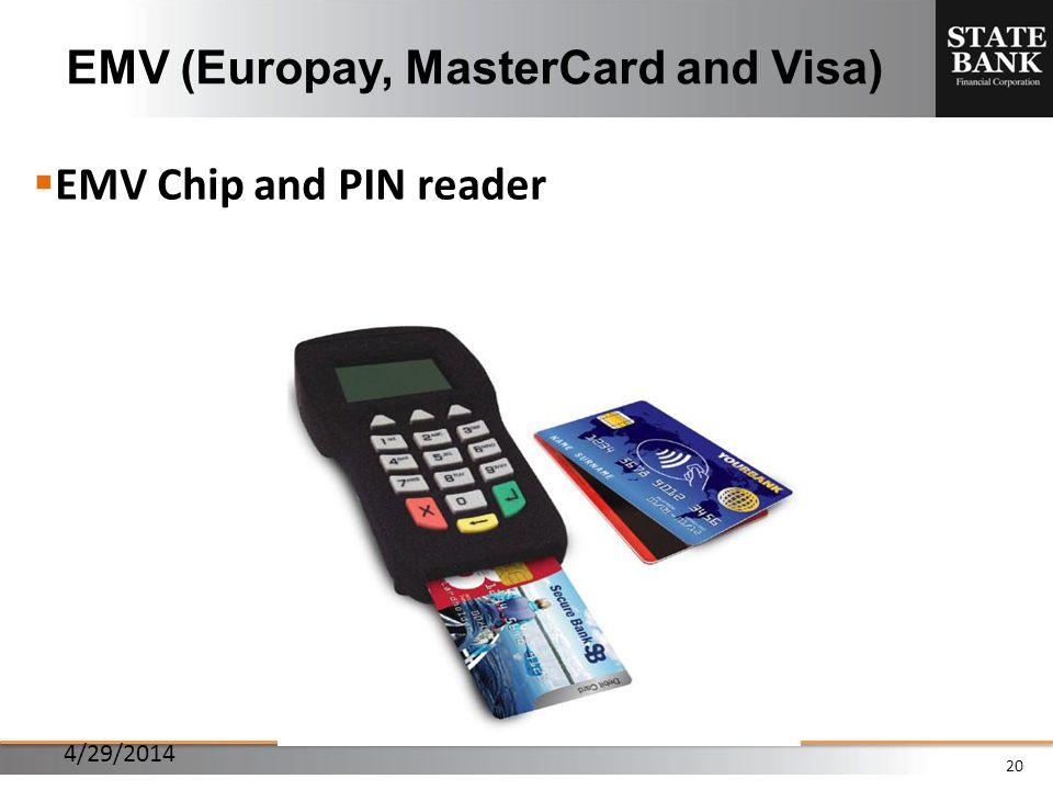 20 EMV (Europay, MasterCard and Visa) EMV Chip and PIN reader 4/29/2014