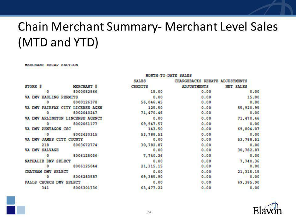 Chain Merchant Summary- Merchant Level Sales (MTD and YTD) 24