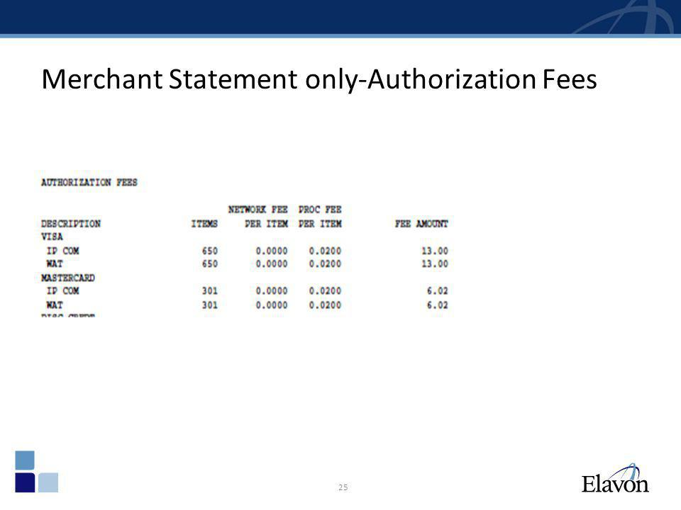 Merchant Statement only-Authorization Fees 25