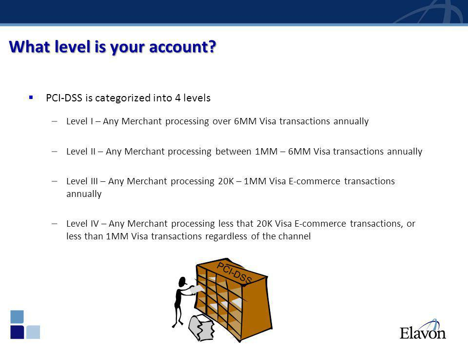 38 What level is your account? PCI-DSS is categorized into 4 levels – Level I – Any Merchant processing over 6MM Visa transactions annually – Level II