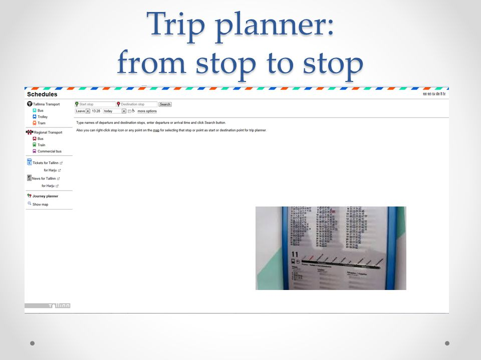 Trip planner: from stop to stop