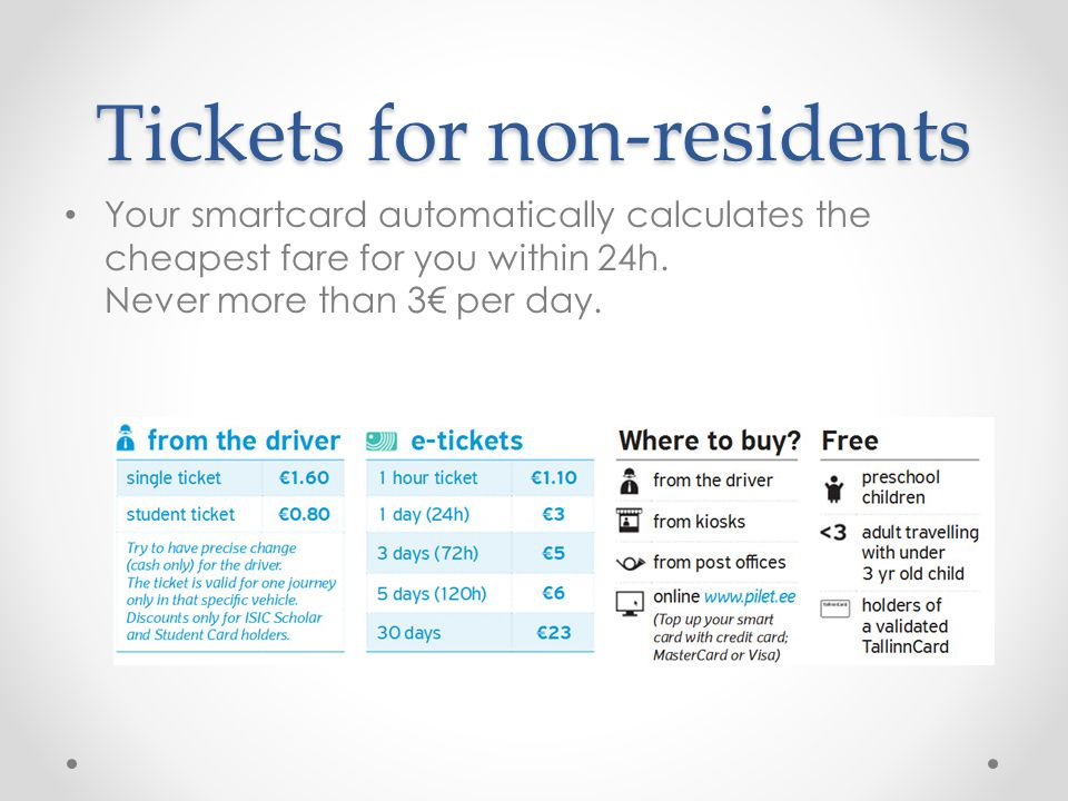 Tickets for non-residents Your smartcard automatically calculates the cheapest fare for you within 24h.