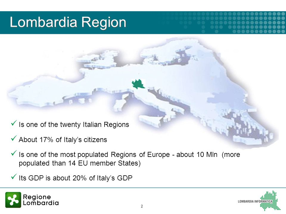 2 Lombardia Region Is one of the twenty Italian Regions About 17% of Italys citizens Is one of the most populated Regions of Europe - about 10 Mln (more populated than 14 EU member States) Its GDP is about 20% of Italys GDP