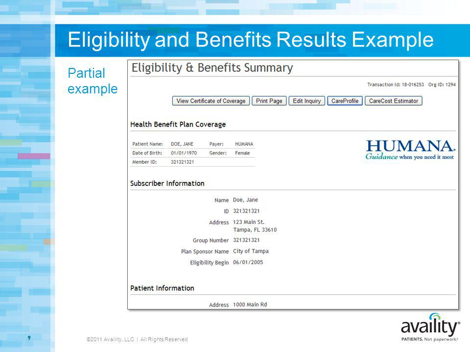 Eligibility and Benefits Results Example ©2011 Availity, LLC | All Rights Reserved 9 Partial example