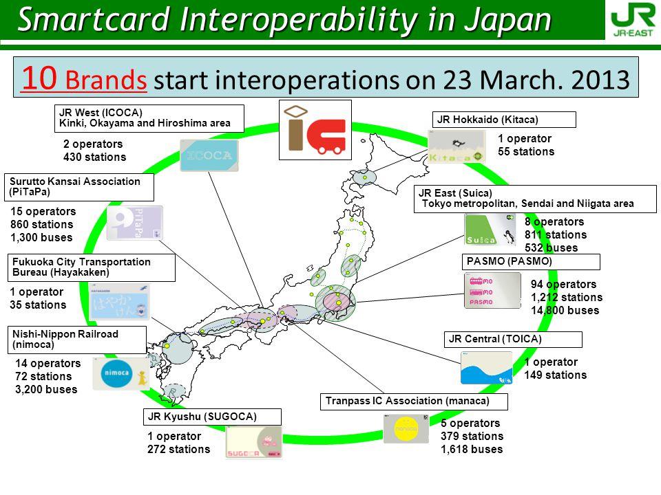 5 operators 379 stations 1,618 buses JR Central (TOICA) JR Hokkaido (Kitaca) JR Kyushu (SUGOCA) Fukuoka City Transportation Bureau (Hayakaken) Tranpas