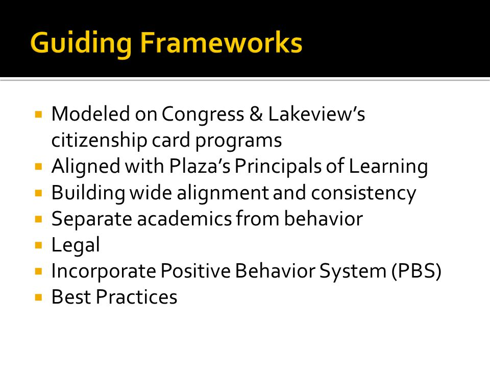 Modeled on Congress & Lakeviews citizenship card programs Aligned with Plazas Principals of Learning Building wide alignment and consistency Separate academics from behavior Legal Incorporate Positive Behavior System (PBS) Best Practices