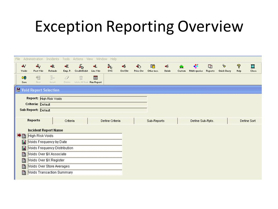 Exception Reporting Overview