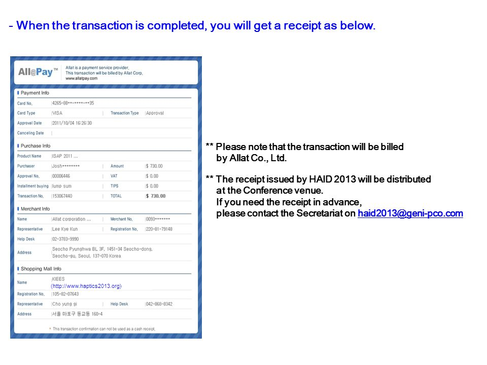 - When the transaction is completed, you will get a receipt as below.