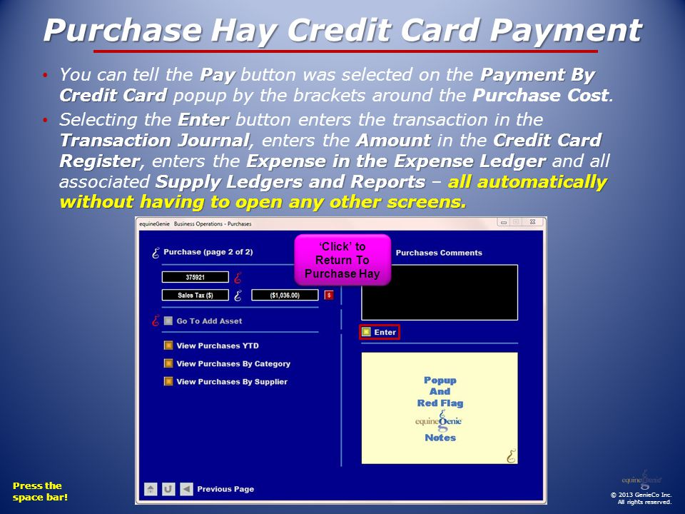 Press the space bar. Press the space bar. Purchase Hay Credit Card Payment © 2013 GenieCo Inc.