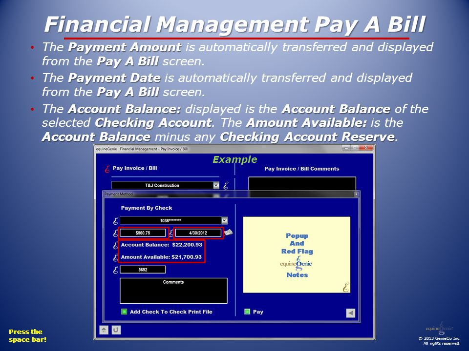 Financial Management Pay A Bill Payment Amount Pay A Bill The Payment Amount is automatically transferred and displayed from the Pay A Bill screen.