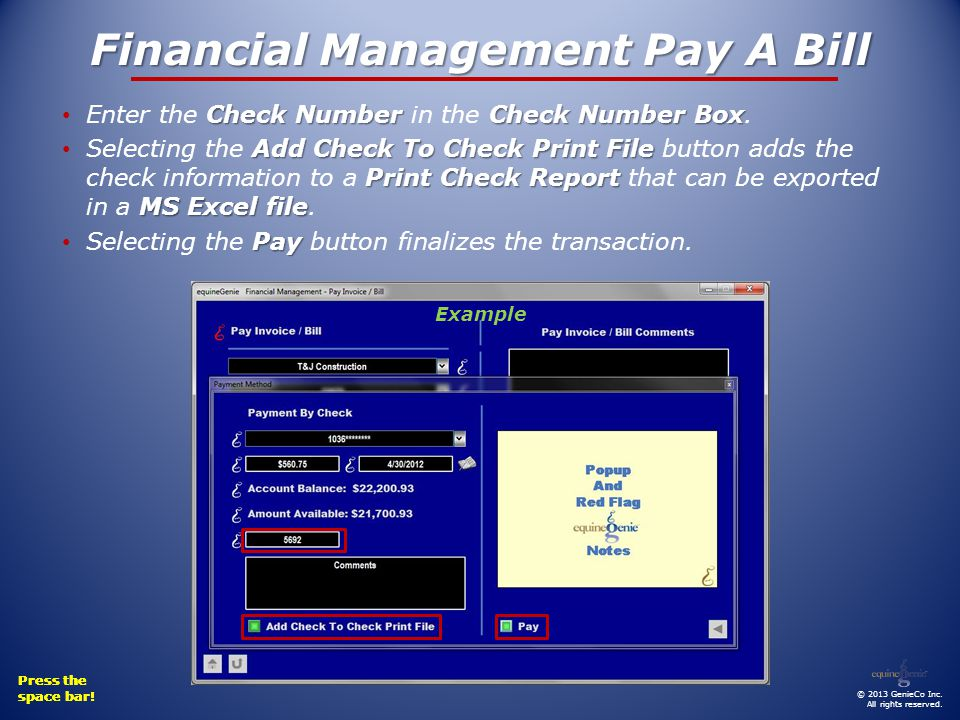 Financial Management Pay A Bill Check Number Check Number Box Enter the Check Number in the Check Number Box.