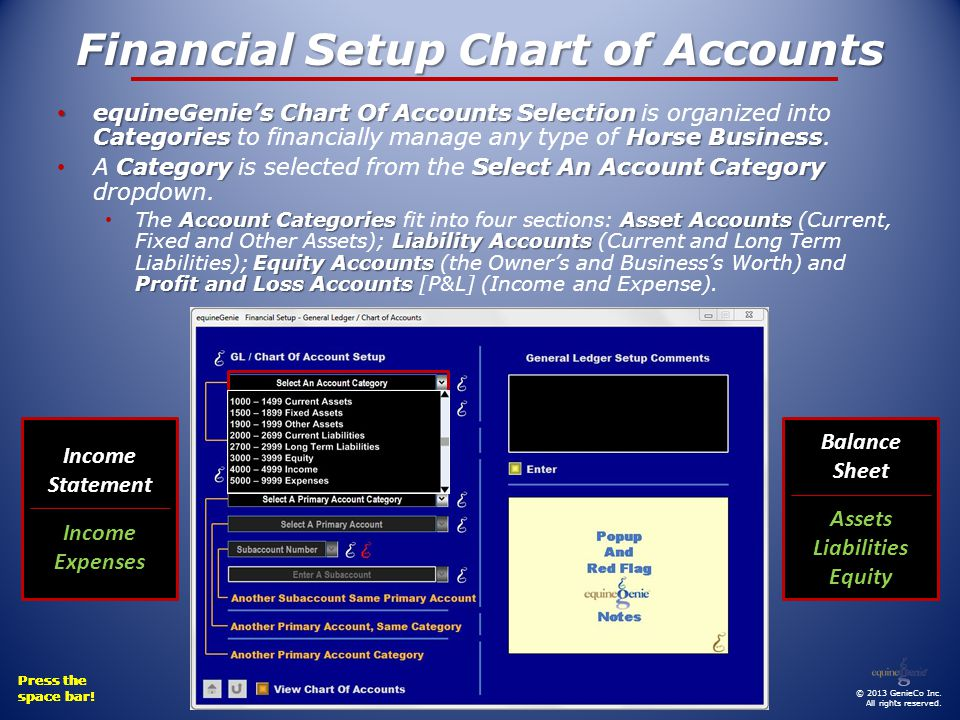 Financial Setup Chart of Accounts equineGenies Chart Of Accounts Selection CategoriesHorse Business equineGenies Chart Of Accounts Selection is organized into Categories to financially manage any type of Horse Business.