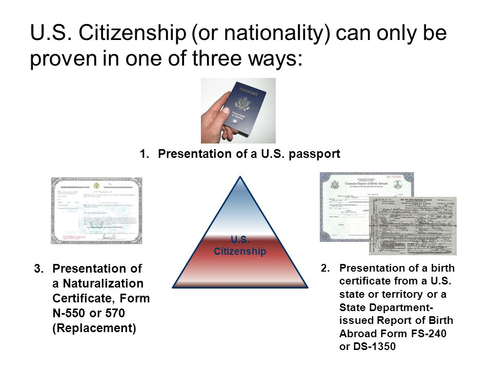 U.S. Citizenship (or nationality) can only be proven in one of three ways: U.S. Citizenship 1.Presentation of a U.S. passport 3.Presentation of a Natu