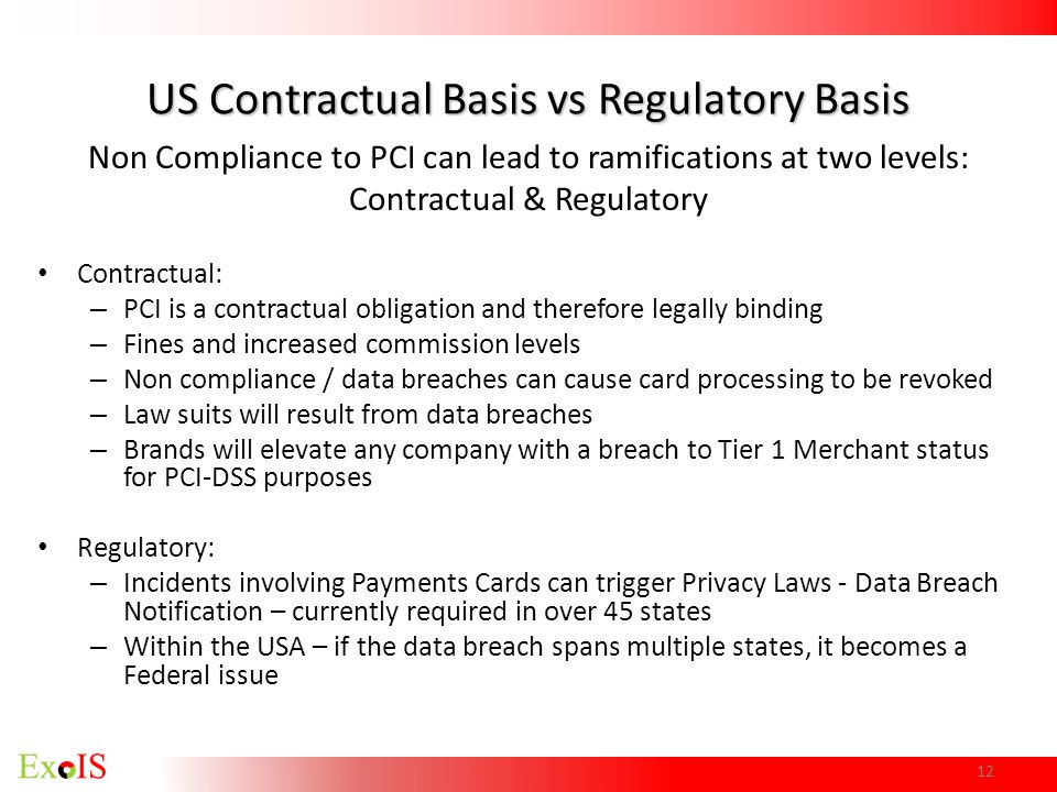 US Contractual Basis vs Regulatory Basis Non Compliance to PCI can lead to ramifications at two levels: Contractual & Regulatory Contractual: – PCI is
