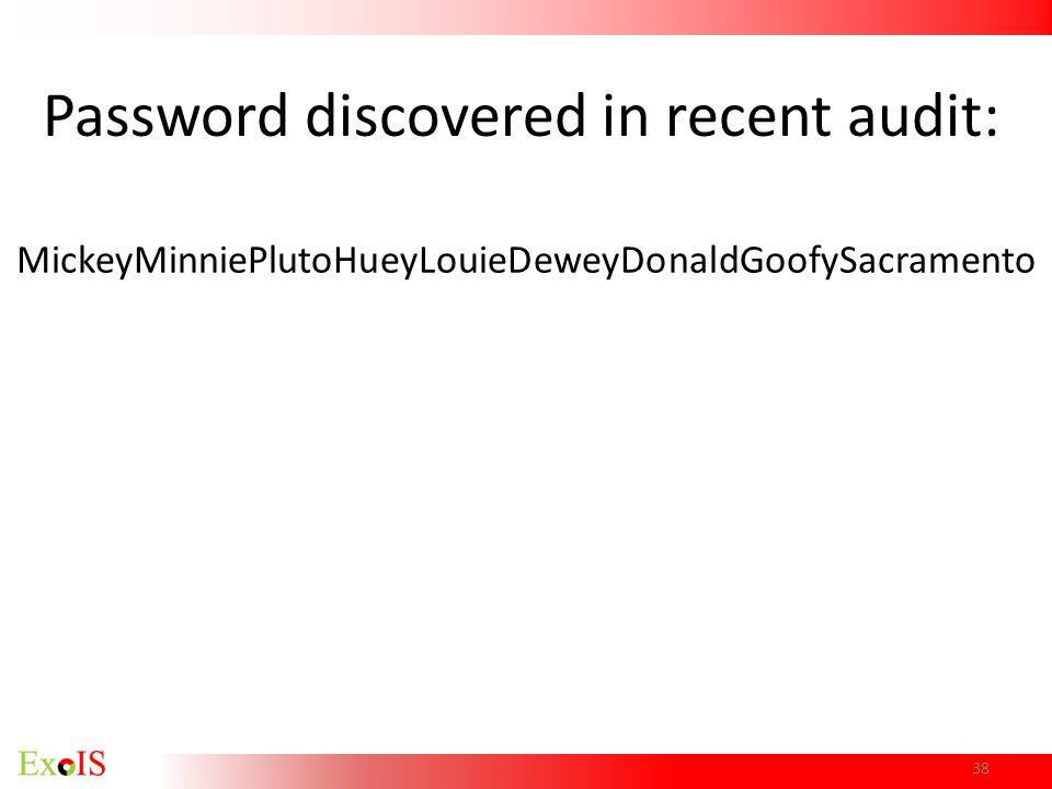 MickeyMinniePlutoHueyLouieDeweyDonaldGoofySacramento 38 Password discovered in recent audit: