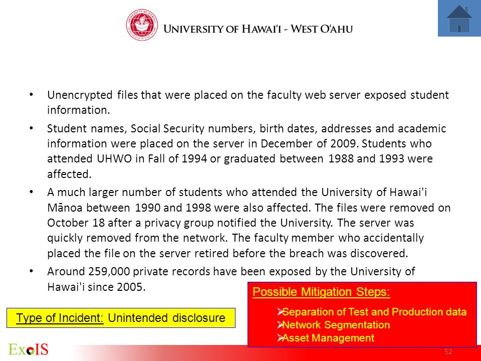 52 Unencrypted files that were placed on the faculty web server exposed student information. Student names, Social Security numbers, birth dates, addr