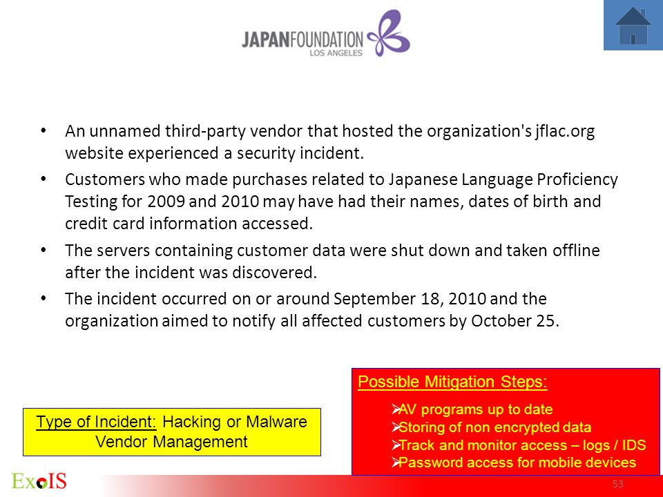 53 An unnamed third-party vendor that hosted the organization's jflac.org website experienced a security incident. Customers who made purchases relate