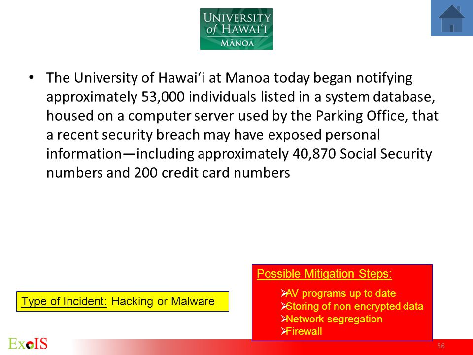 56 The University of Hawaii at Manoa today began notifying approximately 53,000 individuals listed in a system database, housed on a computer server u