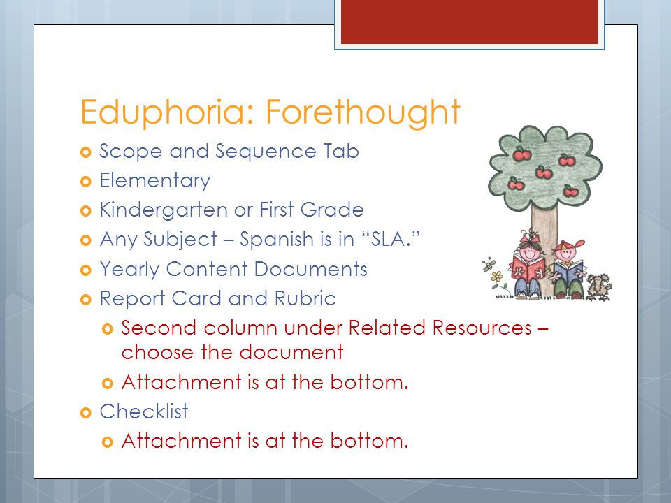 Eduphoria: Forethought Scope and Sequence Tab Elementary Kindergarten or First Grade Any Subject – Spanish is in SLA. Yearly Content Documents Report