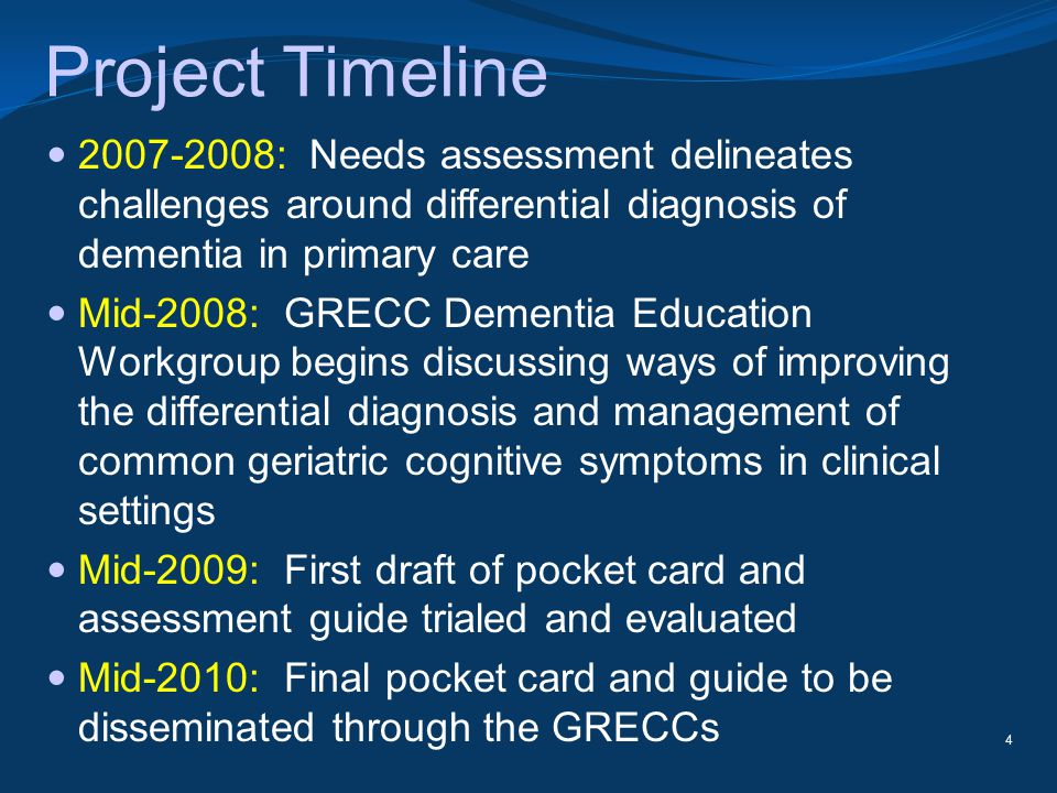 Project Timeline 2007-2008: Needs assessment delineates challenges around differential diagnosis of dementia in primary care Mid-2008: GRECC Dementia