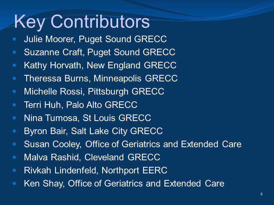 Key Contributors Julie Moorer, Puget Sound GRECC Suzanne Craft, Puget Sound GRECC Kathy Horvath, New England GRECC Theressa Burns, Minneapolis GRECC M