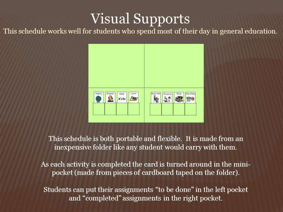 Visual Supports This schedule works well for students who spend most of their day in general education.