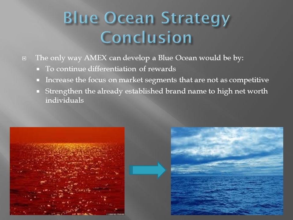 The only way AMEX can develop a Blue Ocean would be by: To continue differentiation of rewards Increase the focus on market segments that are not as competitive Strengthen the already established brand name to high net worth individuals