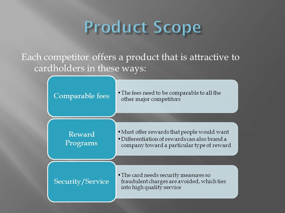 Each competitor offers a product that is attractive to cardholders in these ways: The fees need to be comparable to all the other major competitors Co
