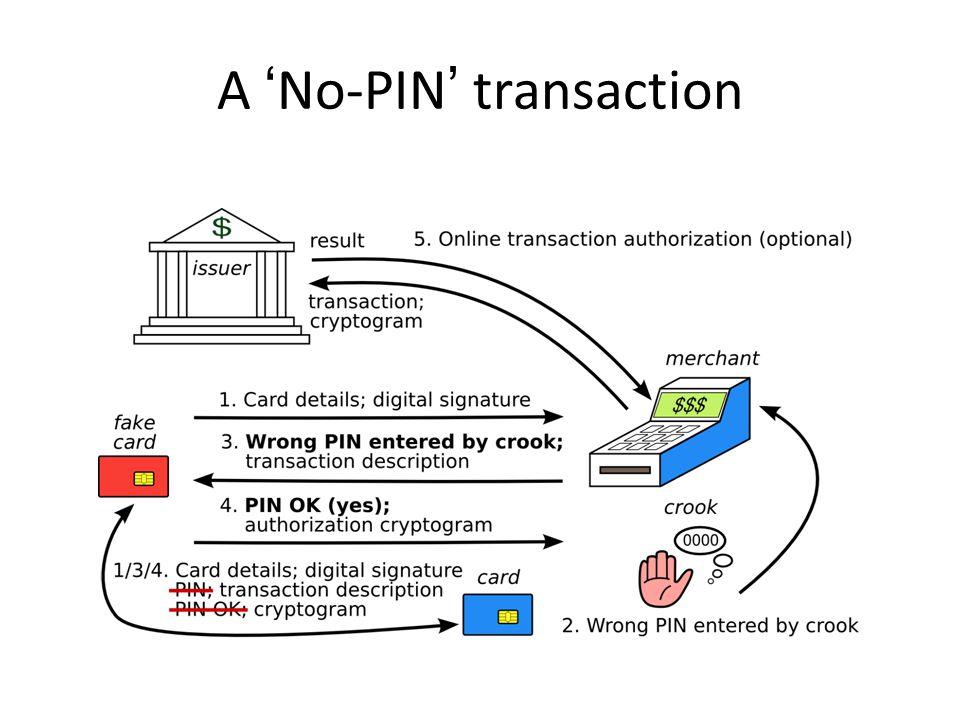 A No-PIN transaction