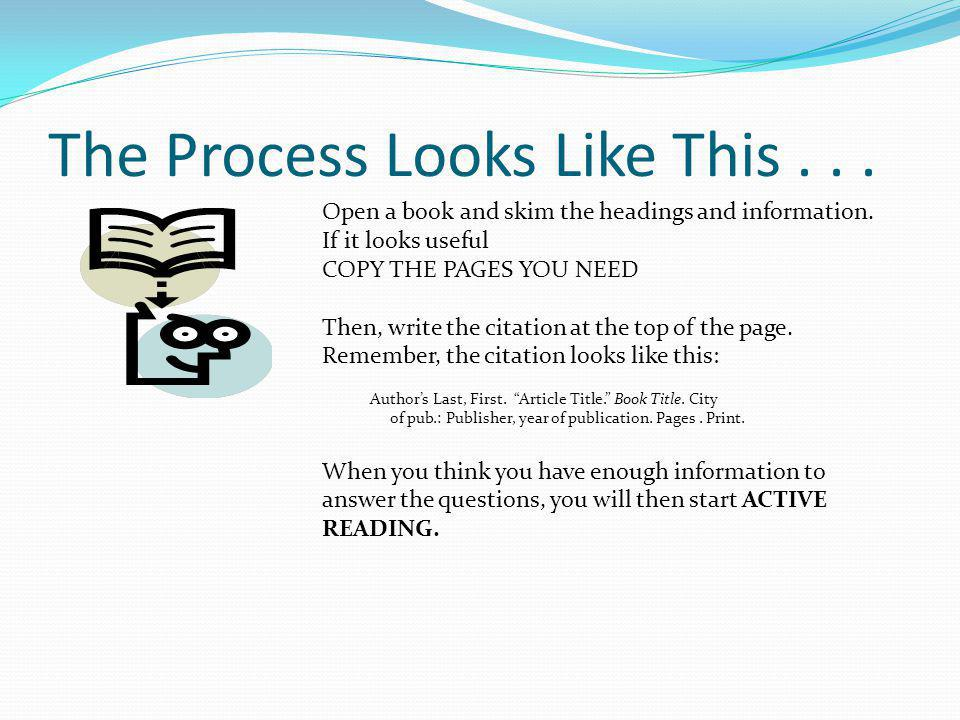 The Process Looks Like This... Open a book and skim the headings and information. If it looks useful COPY THE PAGES YOU NEED Then, write the citation