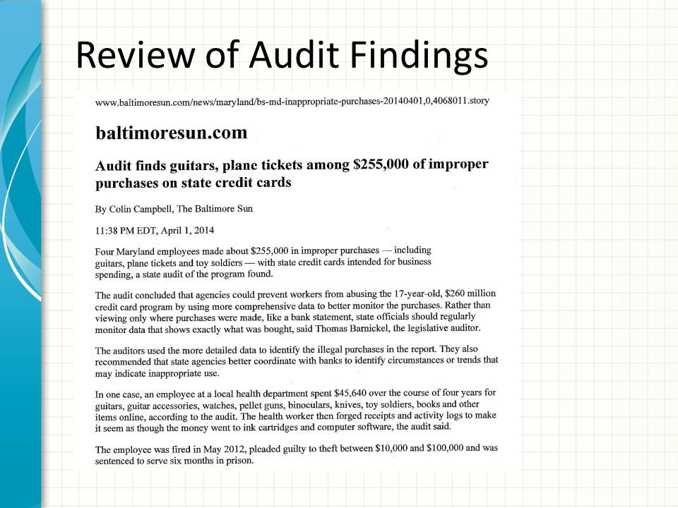 Review of Audit Findings