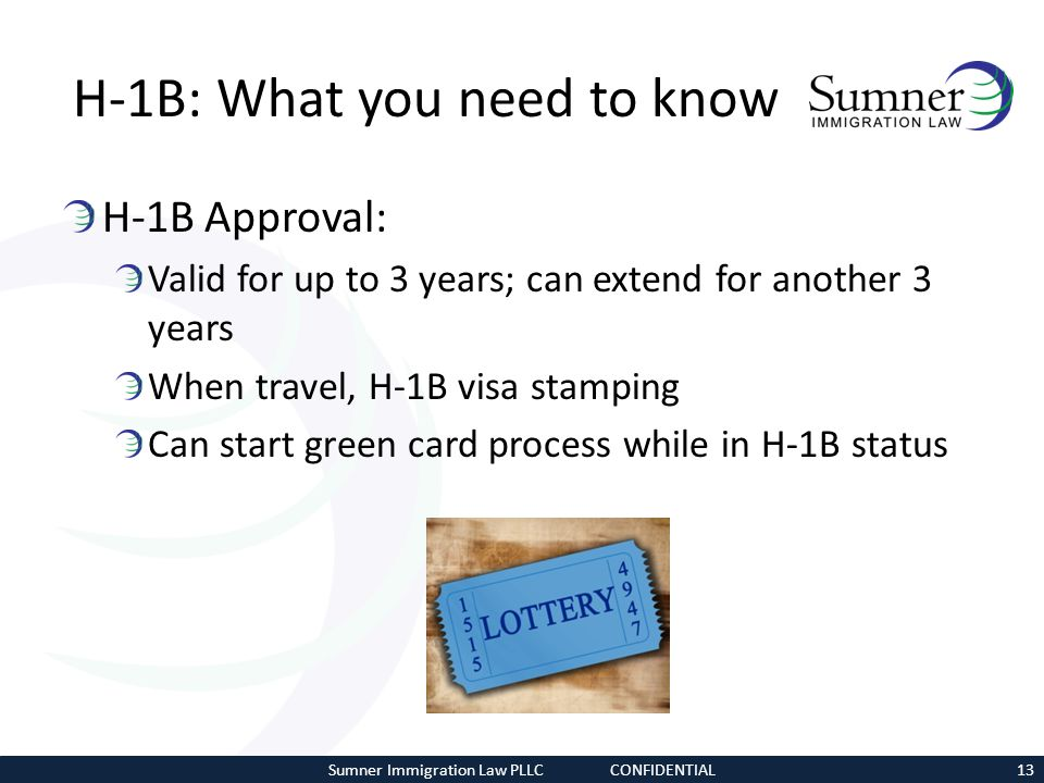 H-1B: What you need to know H-1B Approval: Valid for up to 3 years; can extend for another 3 years When travel, H-1B visa stamping Can start green car