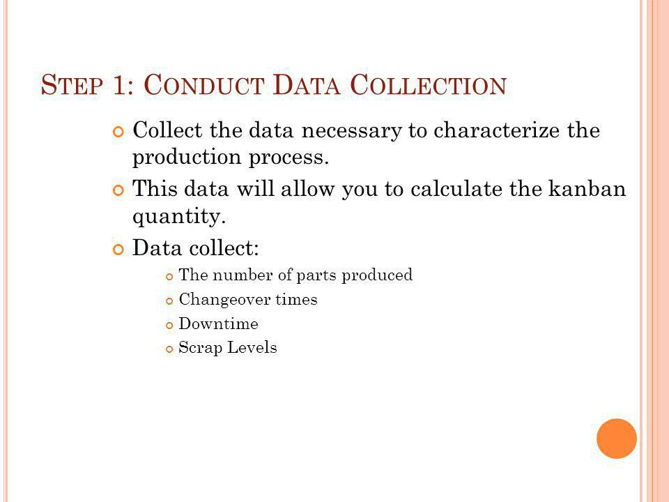 S TEP 1: C ONDUCT D ATA C OLLECTION Collect the data necessary to characterize the production process.