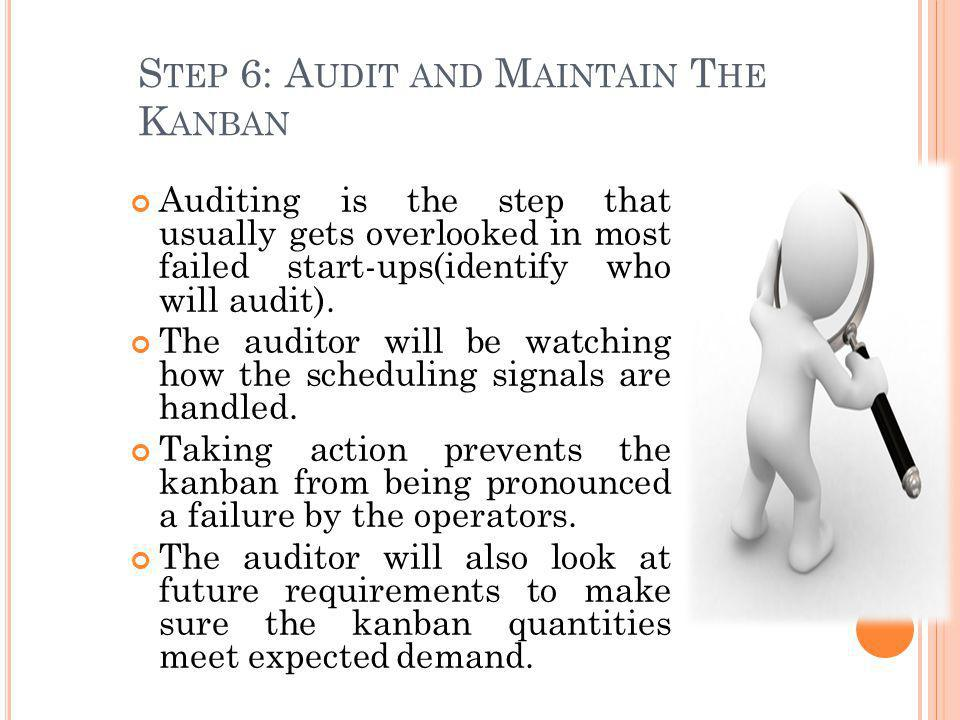 S TEP 6: A UDIT AND M AINTAIN T HE K ANBAN Auditing is the step that usually gets overlooked in most failed start-ups(identify who will audit). The au