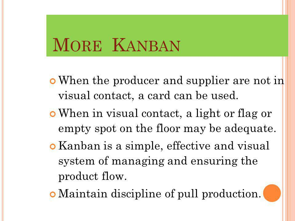 M ORE K ANBAN When the producer and supplier are not in visual contact, a card can be used.