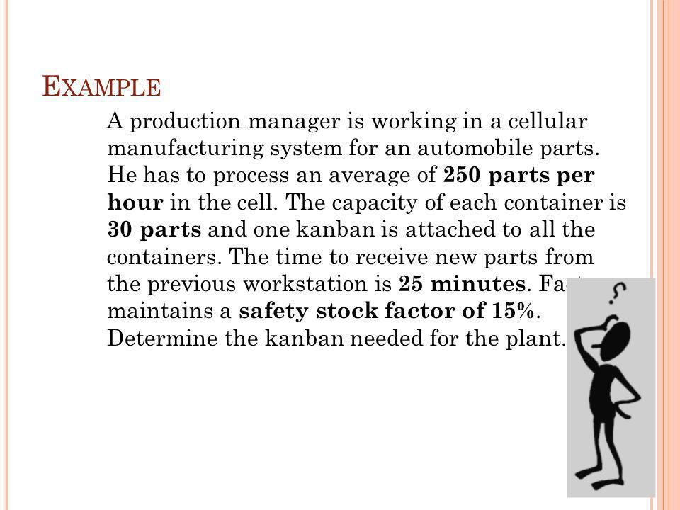 E XAMPLE A production manager is working in a cellular manufacturing system for an automobile parts.