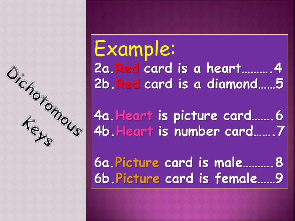Example: 2a.Red card is a heart……….4 2b.Red card is a diamond……5 4a.Heart is picture card…….6 4b.Heart is number card…….7 6a.Picture card is male……….8