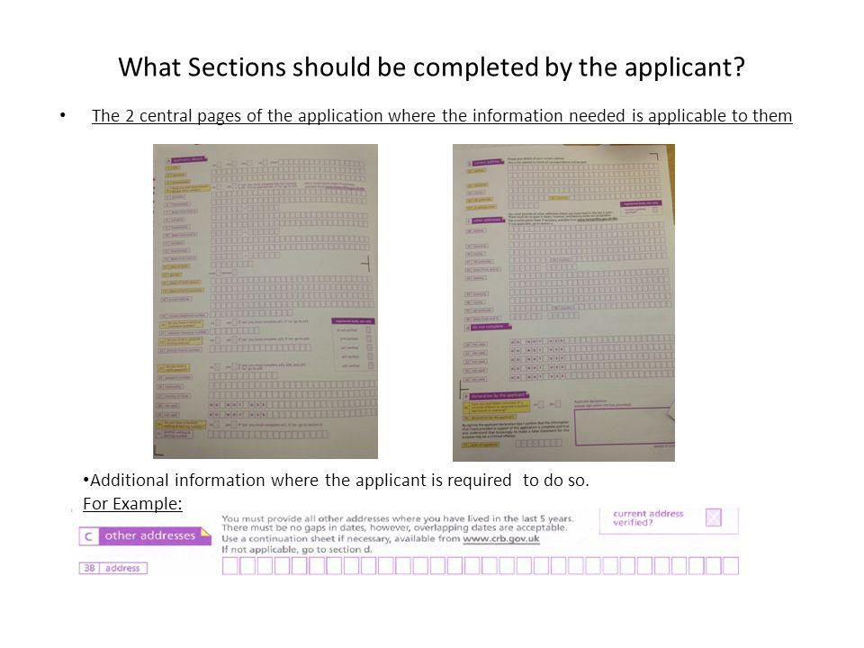 What Sections should be completed by the applicant.