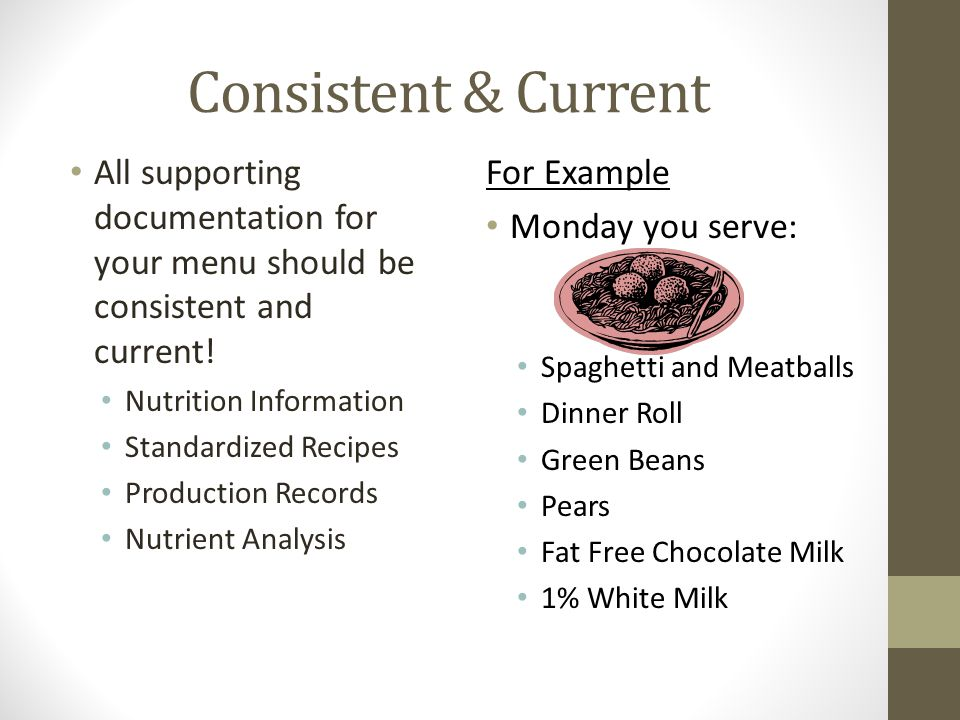 Consistent & Current All supporting documentation for your menu should be consistent and current! Nutrition Information Standardized Recipes Productio
