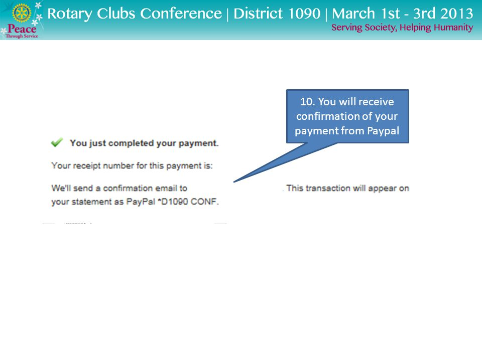 10. You will receive confirmation of your payment from Paypal